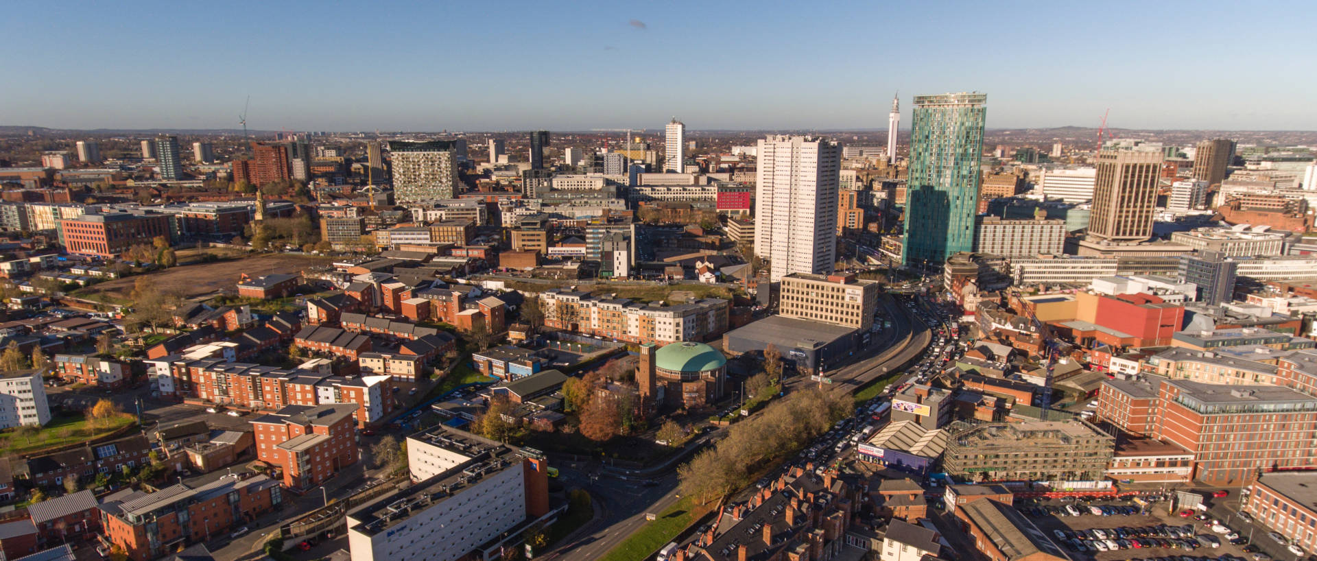 Aerial of view of Birmingham including PREMIER SUITES Birmingham