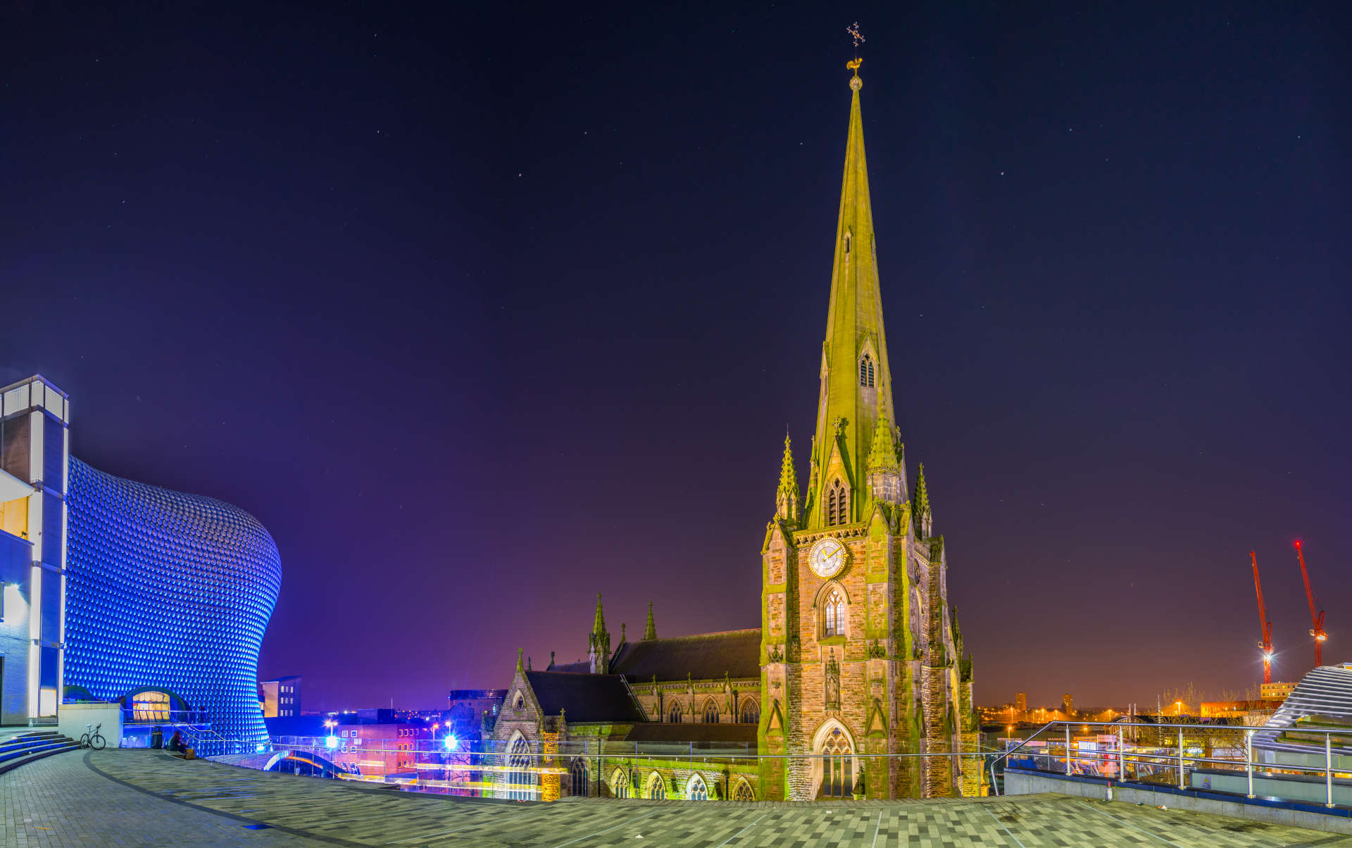 Nighttime view of St Martins and The Bullring, Birmingham.